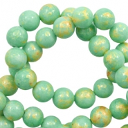 4 mm natural stone beads round jade Gold-Light Turquoise Green