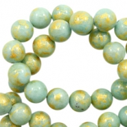 4 mm natural stone beads round jade Gold-Cameo Green