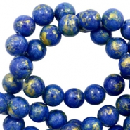 8 mm natural stone beads round jade Gold-Princess Blue