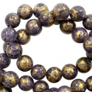 4 mm natural stone beads round jade Gold-Imperial Purple