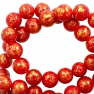 6 mm natural stone beads round jade Gold-Scarlet Red