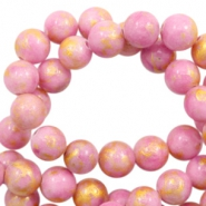 6 mm natural stone beads round jade Gold-Lilac Pink