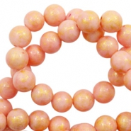 6 mm natural stone beads round jade Gold-Salmon Rose Pink