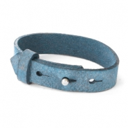 15mm leather Cuoio bracelets for 20mm cabochon Navy Peony Blue