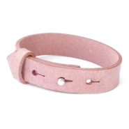 15mm leather Cuoio bracelets for 20mm cabochon Soft Misty Rose