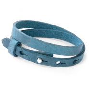 Cuoio bracelets leather 8mm double for 12mm cabochon Navy Peony Blue