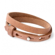 Cuoio bracelets leather 8mm double for 12mm cabochon Auburn Brown