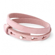 Cuoio bracelets leather 8mm double for 12mm cabochon Soft Misty Rose