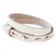 Cuoio bracelets leather 8mm double for 12mm cabochon Desert Dust Beige