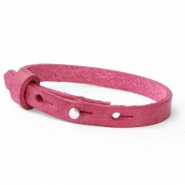 Cuoio bracelets leather 8mm for 12mm cabochon Rubine Pink