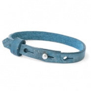 Leather Cuoio kids bracelet 8mm for 12mm cabochon Navy Peony Blue
