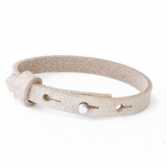 Leather Cuoio kids bracelet 8mm for 12mm cabochon Desert Dust Beige