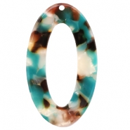 Resin pedants oval 49X29mm Turquoise-Brown