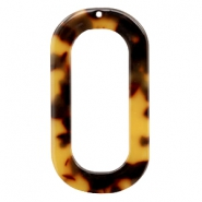 Resin pedants oblong oval 56X30mm Cognac-Brown