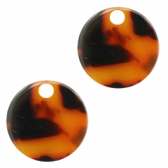 Resin pedants 19mm round Red-Brown