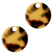 Resin pedants 19mm round Cognac-Brown