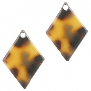 Resin pedants 20X14mm rhombus Cognac-Brown