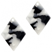 Resin pedants 20X14mm rhombus Black-White