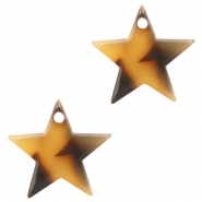 Resin pedants 15mm star Cognac-Brown
