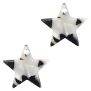 Resin pedants 15mm star Black-White