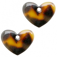 Resin pedants 11x14mm heart Cognac-Brown