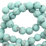 6 mm natural stone beads matt with marble look Light Turquoise Blue