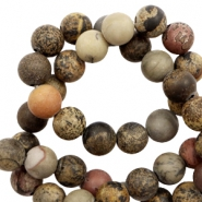 6 mm natural stone beads snake stone matt Earth Brown-Grey
