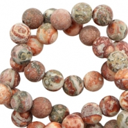 4 mm natural stone beads leopard stone matt Multicolour Earth Red