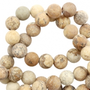 6 mm natural stone beads picture stone matt Beige-Brown
