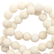 8 mm natural stone beads fossil matt Off White