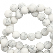 6 mm natural stone beads matt with marble look White