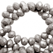 Top faceted beads 4x3mm disc Taupe Grey