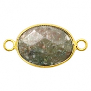 Semi-precious stone pendants/connectors oval 18x14mm labradorite Gold-Greenish Grey