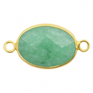 Semi-precious stone pendants/connectors oval 18x14mm Gold-Turquoise Green