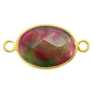 Semi-precious stone pendants/connectors oval 18x14mm China labradorite Gold-Fuchsia Green
