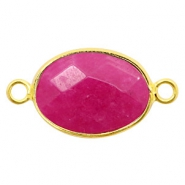 Semi-precious stone pendants/connectors oval 18x14mm jasper Gold-Fuchsia Pink