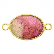 Semi-precious stone pendants/connectors oval 18x14mm monarch Gold-Pink