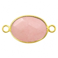 Semi-precious stone pendants/connectors oval 18x14mm Gold-Light Rose Pink