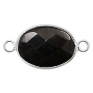 Semi-precious stone pendants/connectors oval 18x14mm Silver-Black