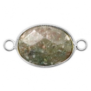 Semi-precious stone pendants/connectors oval 18x14mm labradorite Silver-Greenish Grey