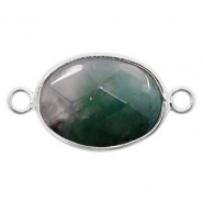 Semi-precious stone pendants/connectors oval 18x14mm Silver-Dark Green