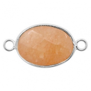 Semi-precious stone pendants/connectors oval 18x14mm jasper Silver-Peach