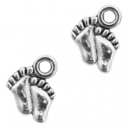 Metal charms little feet Antique Silver