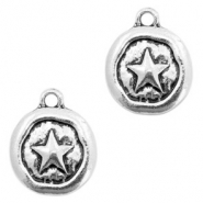 Metal charms star Antique Silver