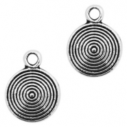 Metal charms round 9mm Antique Silver