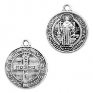 Metal charms religious coin 17mm Antique Silver