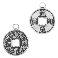 Metal charms coin 14mm Antique Silver