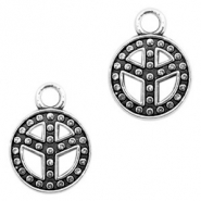 Metal charms peace 13mm Antique Silver