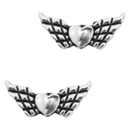 Metal beads angel wing Antique Silver