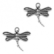 Metal charms dragonfly Antique Silver